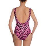 STRIPE ANIMA PINK ONE-PIECE SWIMSUIT