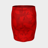 CAMO VERMILLION PENCIL SKIRT-Dustrial