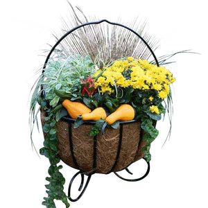 Cauldron Basket Planters With Coco Liners shown with Fall Flowers and Squash- Henderson Garden Supply