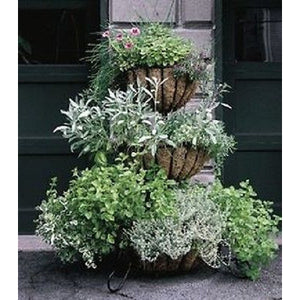 Three Tiered Classic Cascade Patio Planter with Coco Liners - Henderson Garden Supply