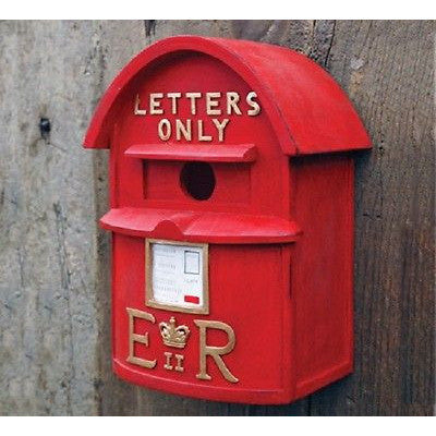 Resin Birdhouse - Red square English postbox- great for chickadee and wrens - Henderson Supply