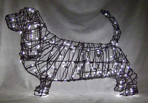 Wire Framed Pre-Lit Basset Hound Topiary Henderson Garden Supply