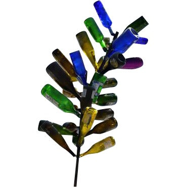Wine Bottle Tree Shown Displayed with Multi-Colored Wine Bottle - Henderson Garden Supply