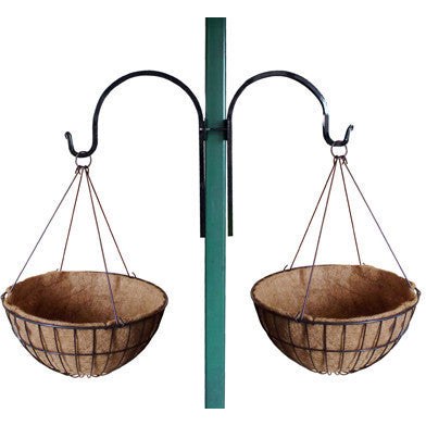 Classic Forged Bracket Shown with 2 Empty Baskets with Coco Fiber Liners - Henderson Garden Supply