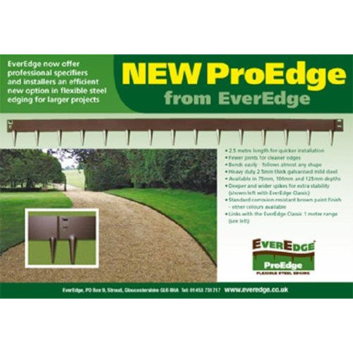 ProEdge by EverEdge Lawn Edging 3in flexible steel 3inx8ft FIVE sections 40 ft total - Henderson Supply - 1