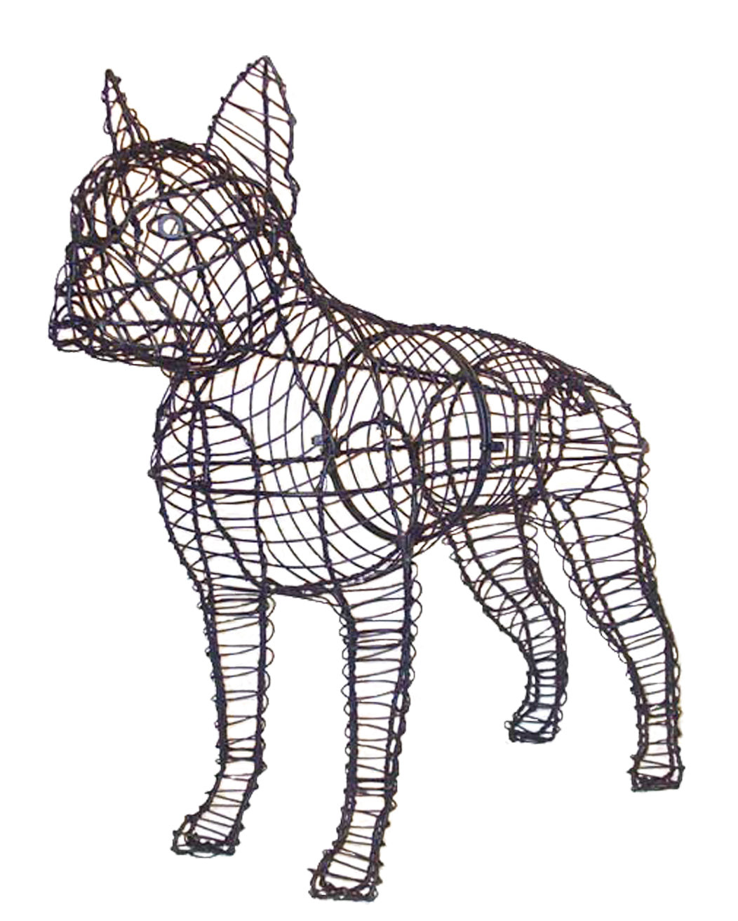 "Boston Terrier 23"" Topiary Sculpture - Wire Frame, Moss Filled or Lighted"