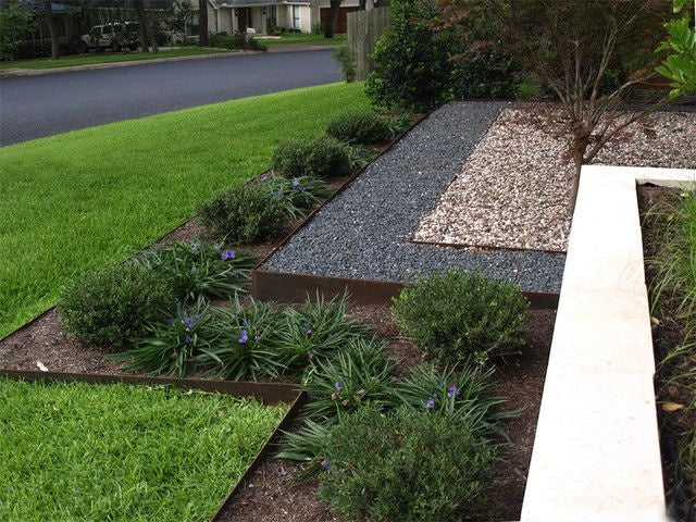 Core Steel flexible edging used to make steps - Henderson Garden Supply