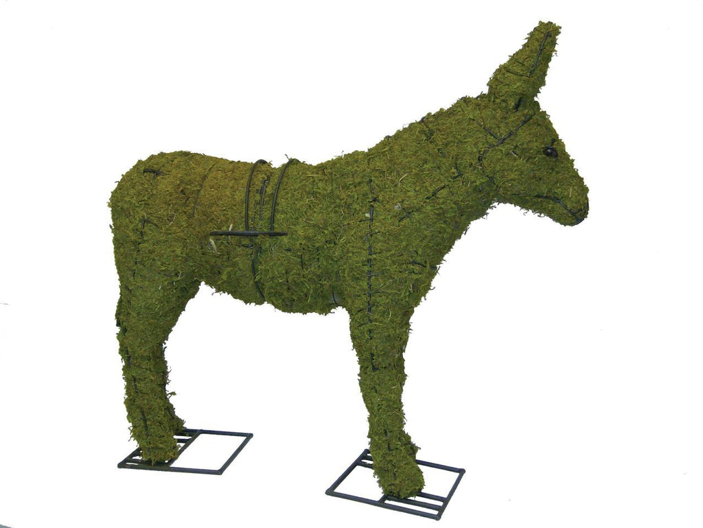 Donkey topiary frame filled with green dyed sphagnum moss - Henderson Garden Supply