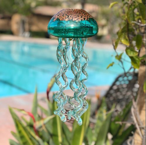Hand Blown Glass Medium Jellyfish Wind Chime Set of 3 - Henderson Garden Supply