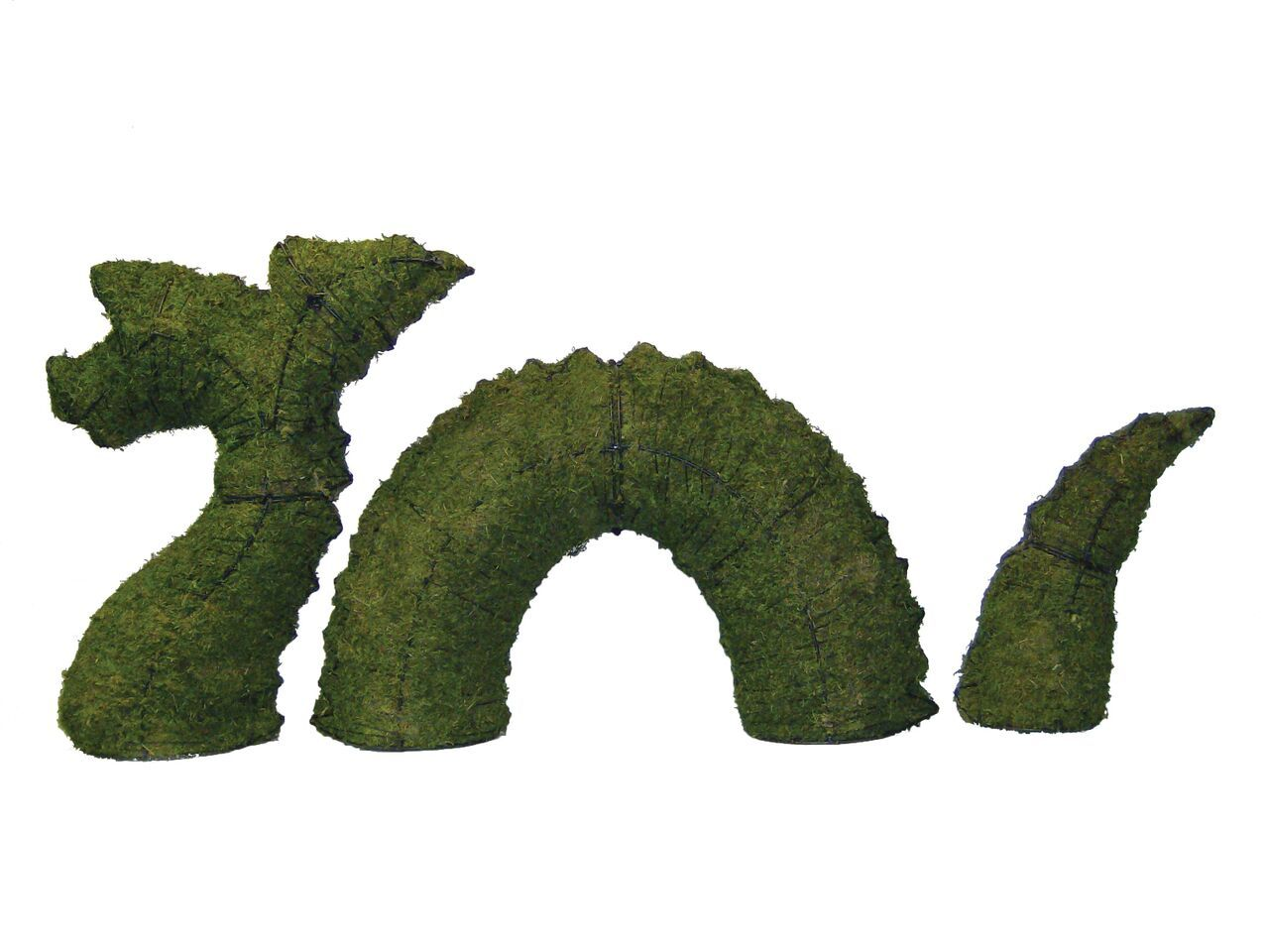Nessie Lock Ness Monster steel topiary frame filled with green dyed sphagnum moss - Henderson Garden Supply