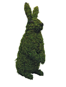 Sitting Upright Rabbit steel topiary frame filled with green dyed sphagnum moss - Henderson Garden Supply