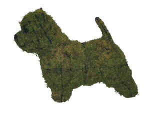 Westie steel topiary frame filled with green dyed sphagnum moss - Henderson Garden Supply