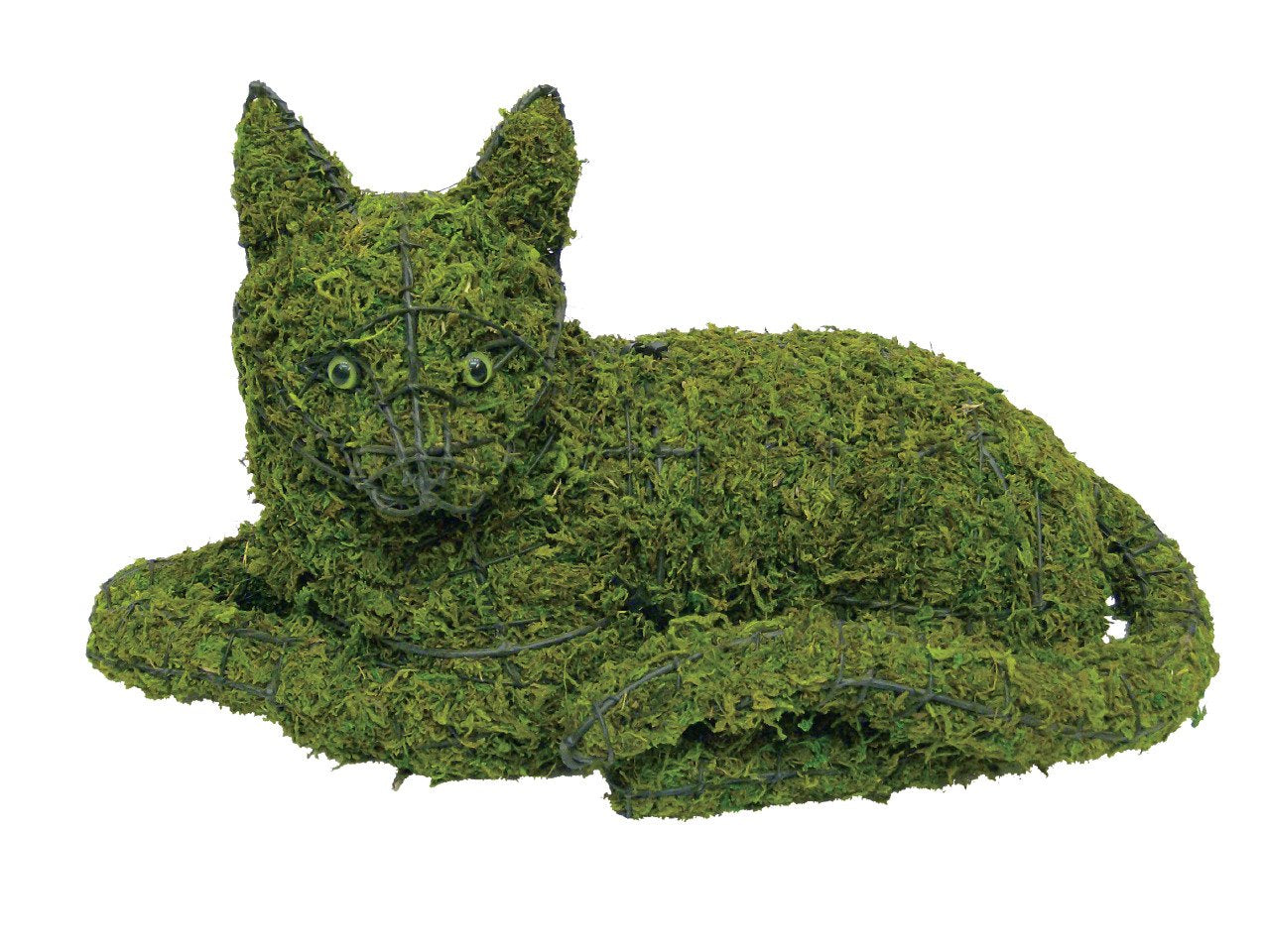 Cat lying down steel topiary frame filled with grren dyed sphagnum moss - Henderson Garden Supply
