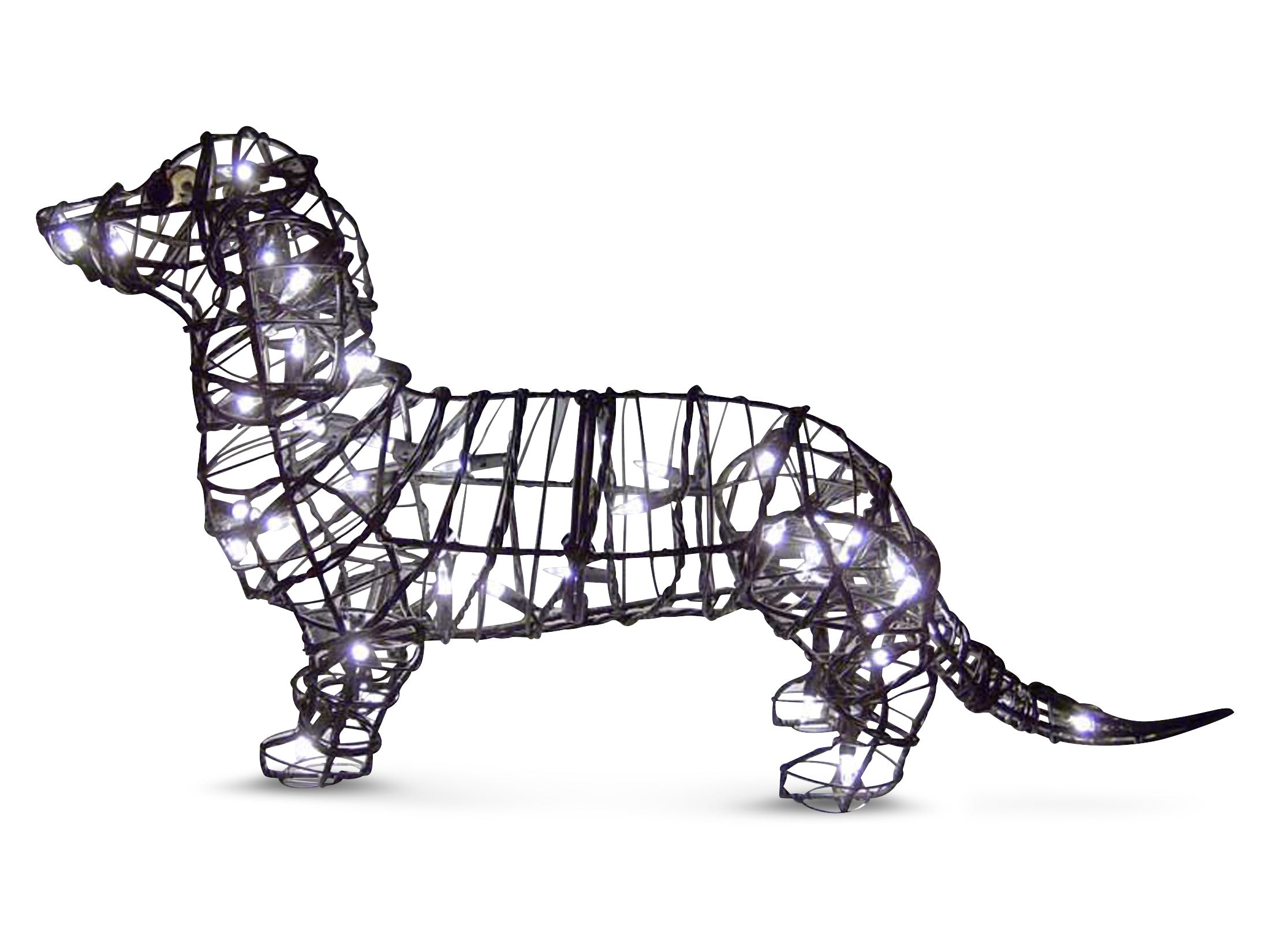 "Dachshund 25"" Topiary Sculpture - Wire Frame, Moss Filled or Lighted"