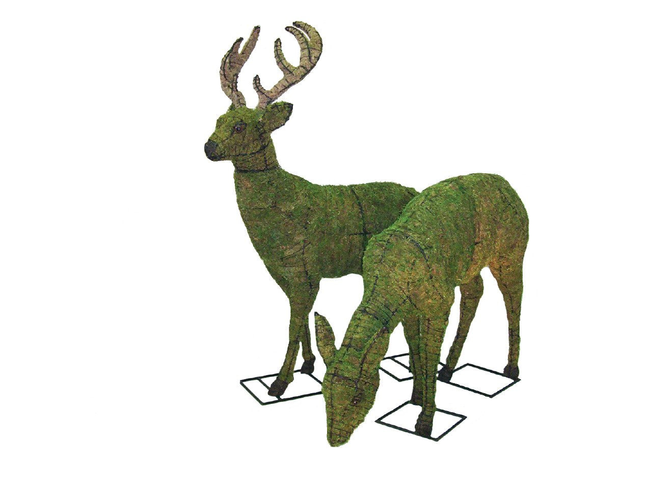 Deer and Doe Topiary frames filled with sphagnum moss - Henderson Garden Supply