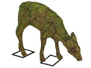 Doe grazing topiary frame filled with green dyed sphagnum moss - Henderson Garden Supply