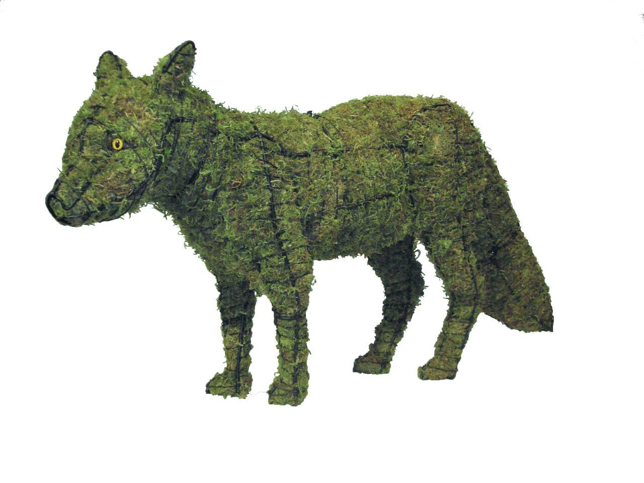 Fox topiary frame filled with green dyed sphagnum moss - Henderson Garden Supply