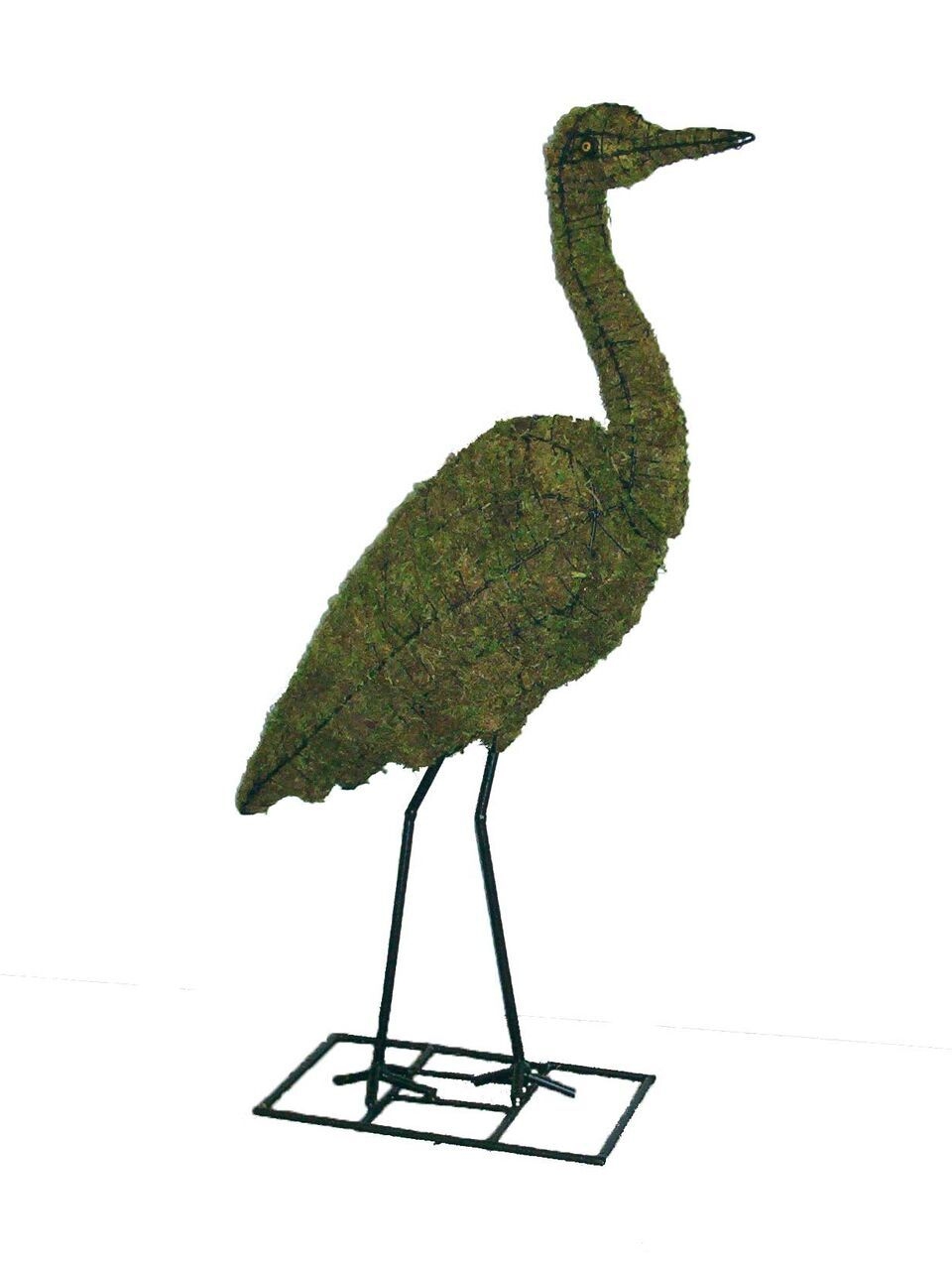 Heron Topiary Frame filled with green dyed sphagnum moss - Henderson Garden Supply