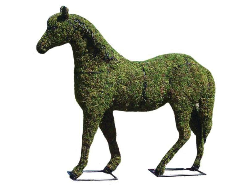 Horse topiary frame filled with green dyed sphagnum moss - Henderson Garden Supply