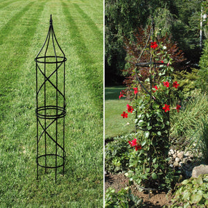 Steel Border Tuteur show in yard and with red flowering vine - Henderson Garden Supply