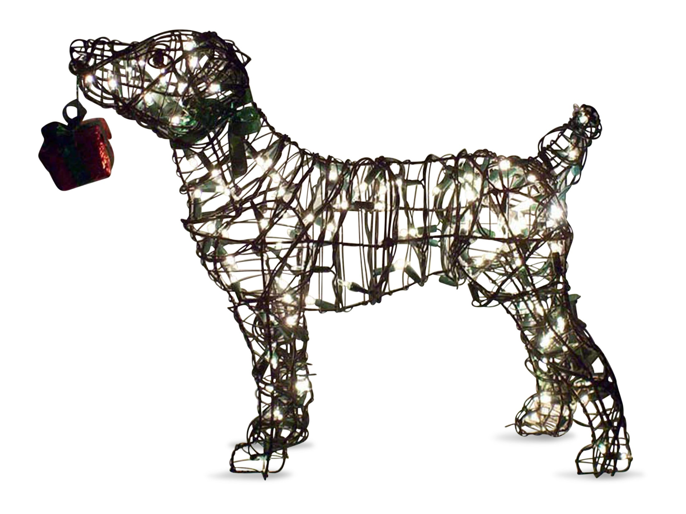 "Jack Russell 22"" Topiary Sculpture - Wire Frame, Moss Filled or Lighted"