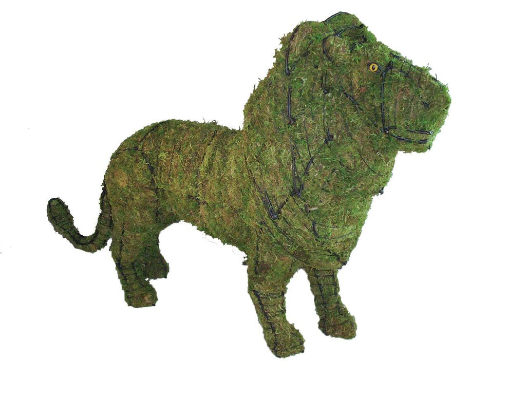 Lion steel topiary frame filled with green dyed sphagnum moss - Henderson Garden Supply