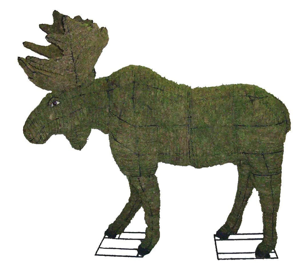 Moose steel topiary frame filled with green dyed sphagnum moss - Henderson Garden Supply