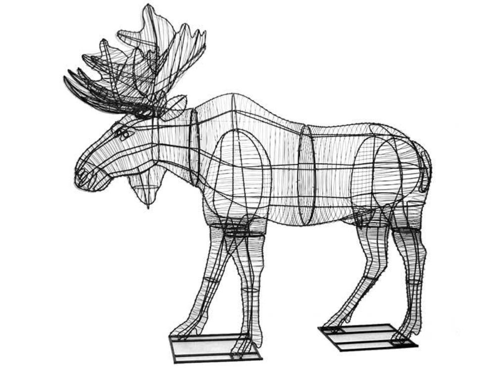 "Moose Topiary Sculpture 66""- Wire Frame or Moss Filled"