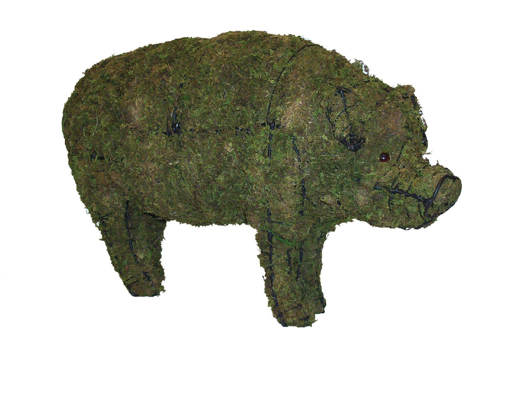 "Pig 23"", 31"" and 46"" Topiary Sculptures - Moss Filled"