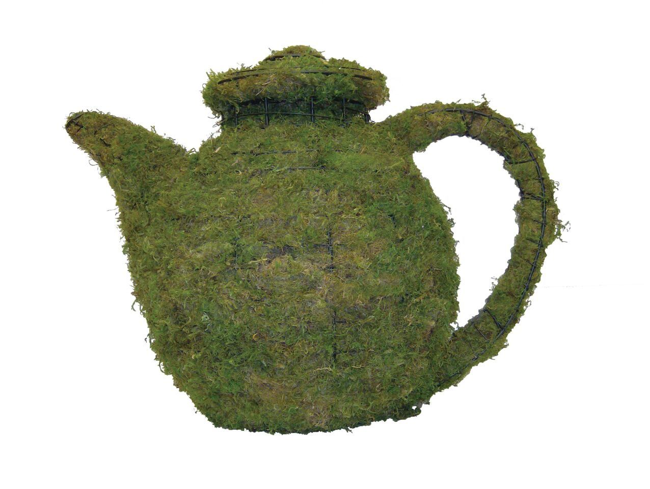 Teapot steel topiary frame filled with green dyed sphagnum moss - Henderson Garden Supply