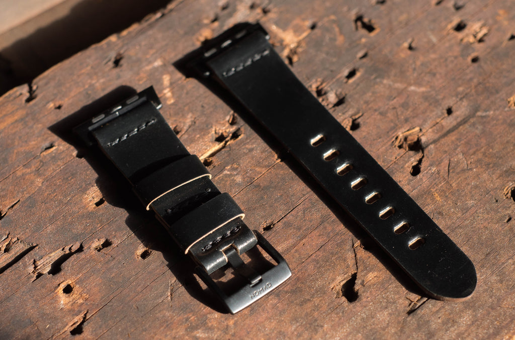 Leather strap for Apple Watch in premium Horween shell cordovan black