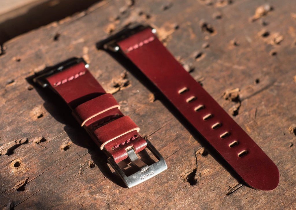 Garnet shell cordovan band for Apple Watch