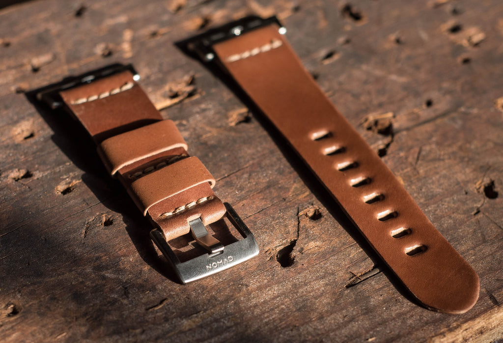 leather watch strap for Apple Watch in natural shell cordovan