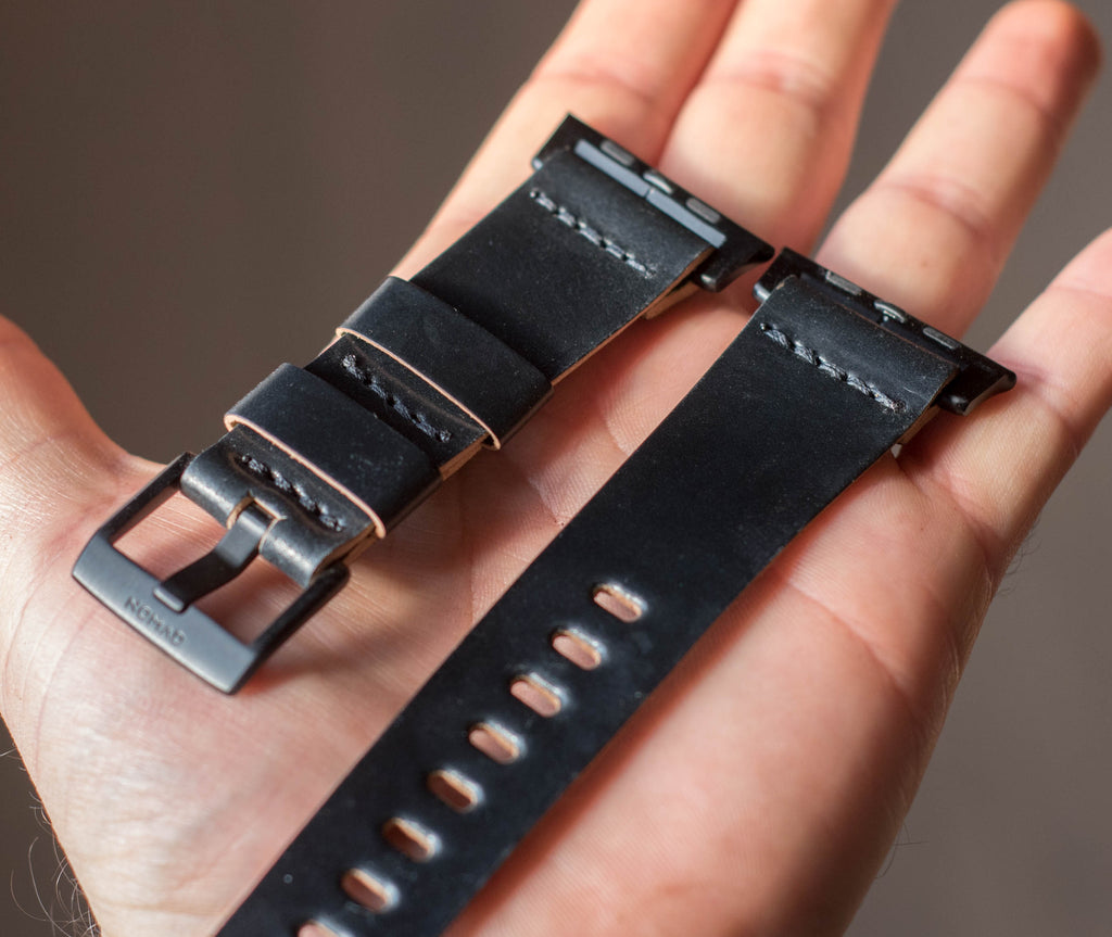 Black Horween shell cordovan leather Apple watch band