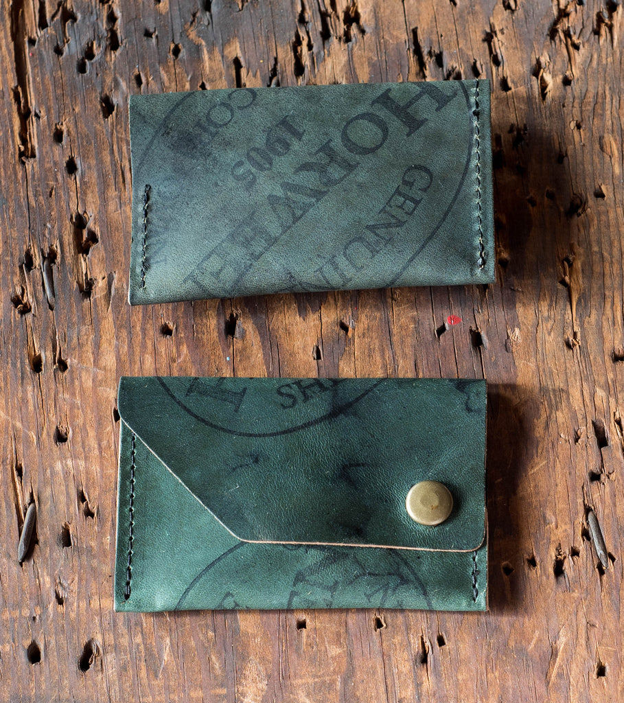 Ashland Leather Card Case Wallet Machine Gun Jack Horween Black Reverse Shell Cordovan front and back