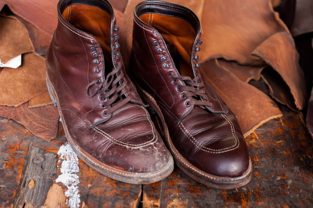 Alden Indy boots with leather conditioner