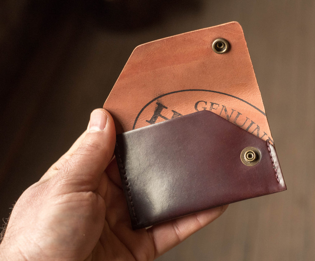 Ashland Leather Card Case Wallet Machine Gun Jack Horween color 8 shell cordovan