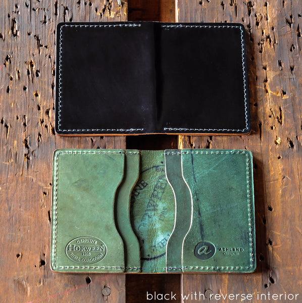 Shell Cordovan Card Holder - Black with reverse interior