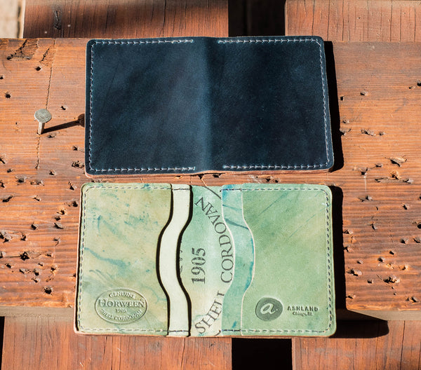 Shell Cordovan Card Holder - Navy with reverse interior
