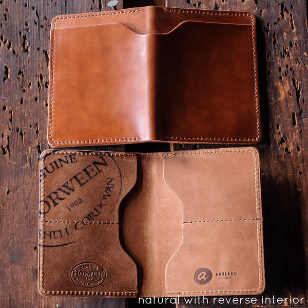 Ashland Leather Horween shell cordovan wallet natural reverse Fat Herbie
