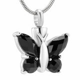 Black Butterfly Urn Necklace for Ashes - Cremation Memorial Pendant