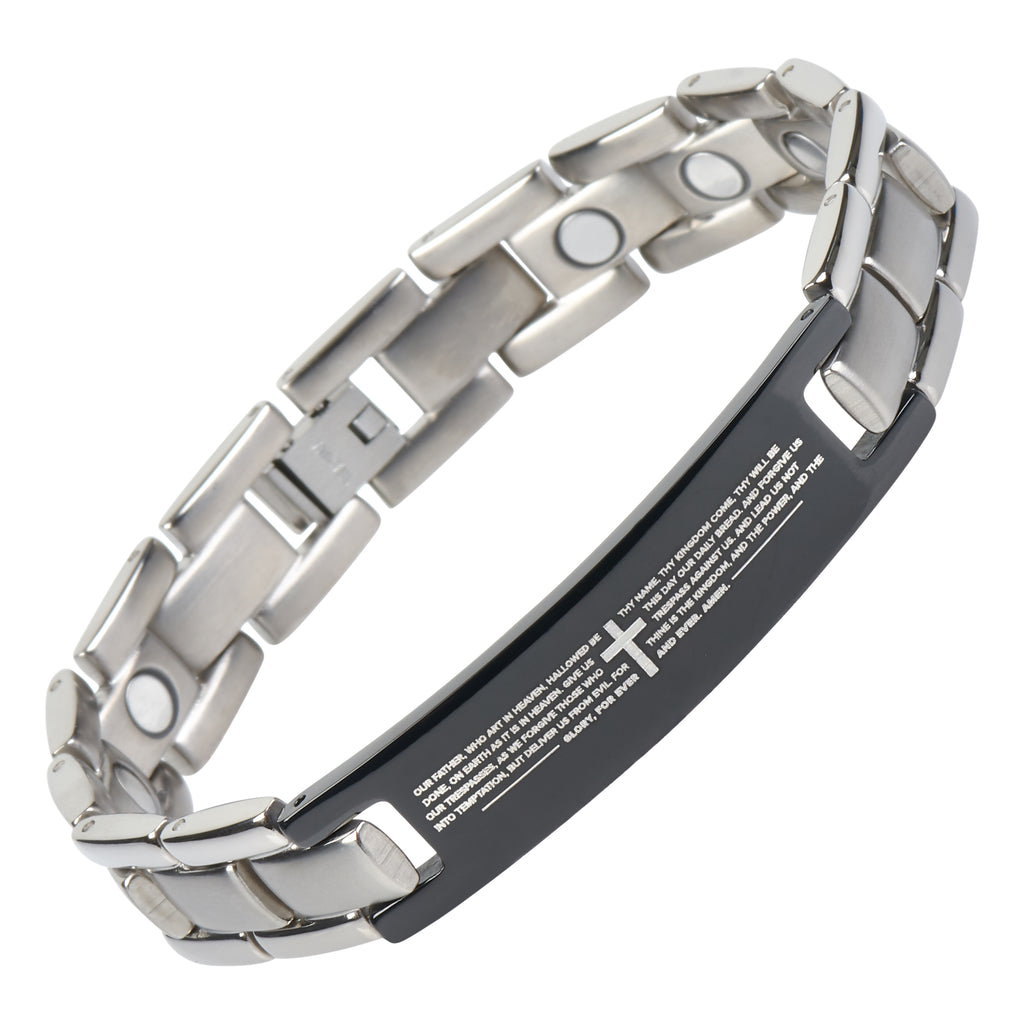 Crosstraxx English Bible Lords Prayer Titanium Magnetic Bracelet Adjustable Silver Color