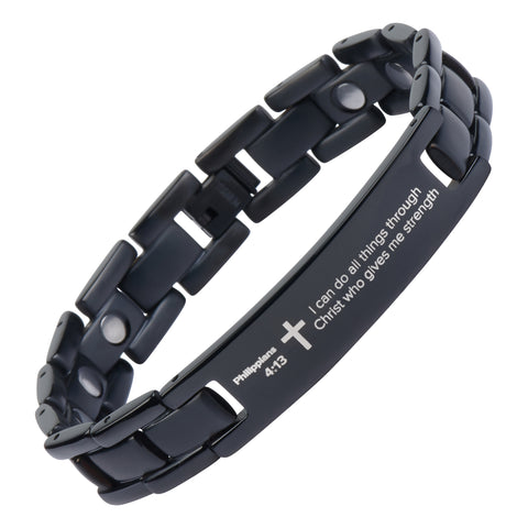 Philippians 4:13 - Black Titanium Prayer Bracelet - Magnetic Therapy - Adjustable