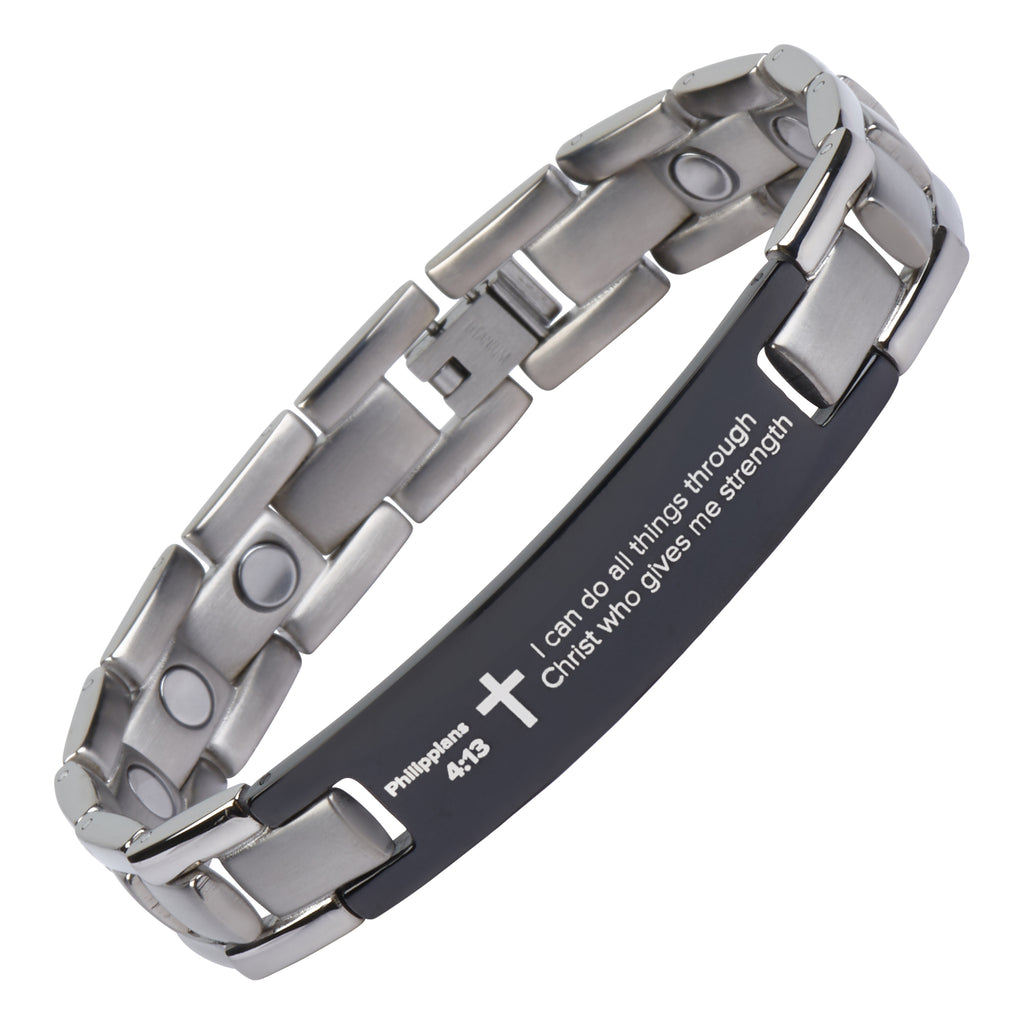 Philippians 4:13 - Titanium Prayer Bracelet - Magnetic Therapy - Adjustable
