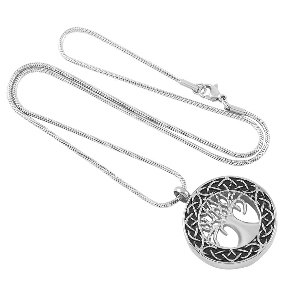 Celtic Tree of Life Urn Necklace - Cremation Jewelry Memorial Keepsake Pendant - Funnel Kit Included - Johnston's Cremation Jewelry - 2