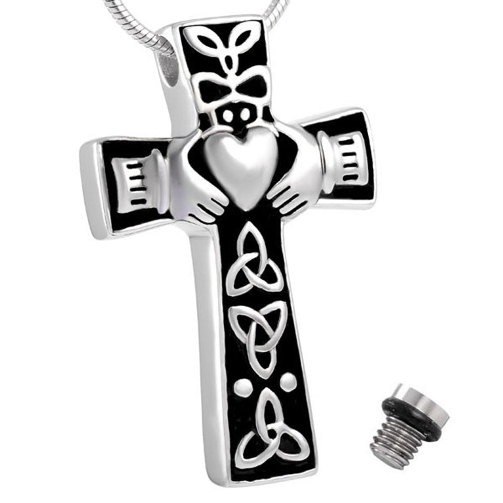 Celtic Cross Claddagh Urn Necklace for Ashes - Cremation Memorial Keepsake - Johnston's Cremation Jewelry - 1