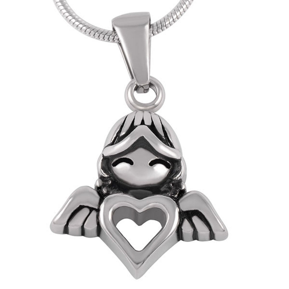 Angel Heart Urn Necklace for Ashes - Cremation Memorial Keepsake Pendant - Johnston's Cremation Jewelry - 1