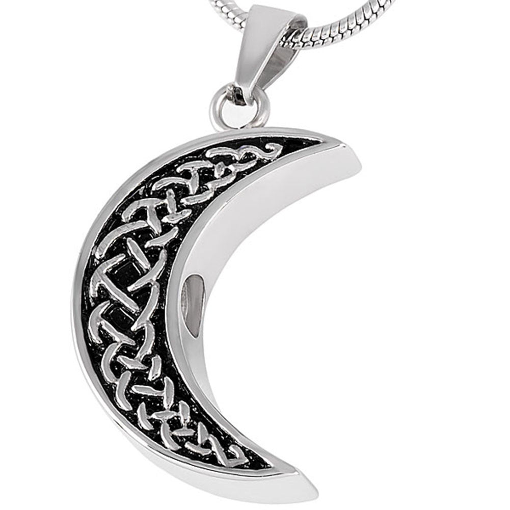 Celtic Moon Urn Necklace for Ashes - Cremation Memorial Keepsake Pendant - Johnston's Cremation Jewelry - 2
