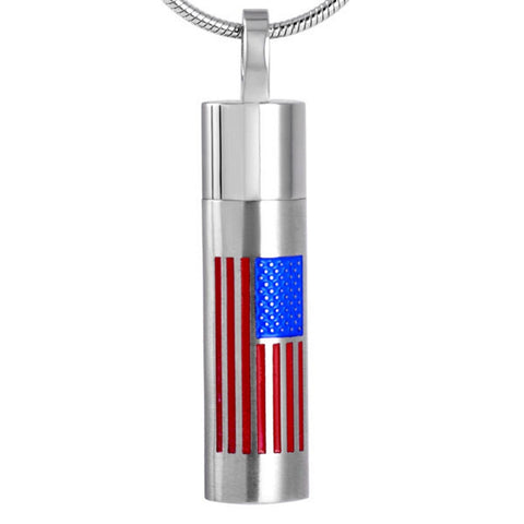 American Flag Urn Necklace - Cremation Memorial Keepsake - Johnston's Cremation Jewelry - 1