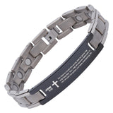 John 3:16 - For God So Loved The World  -  Prayer Link Titanium Bracelet - Magnetic Therapy